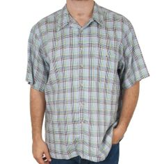 Paul Fredrick Plaid Shirt Linen XXL 2XL Mens Casual Camp Button Front Blue Green #SomeLikeItUsed