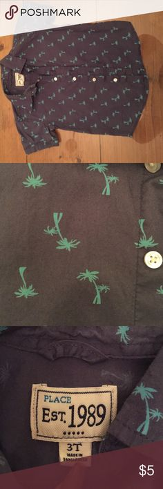 Boys palm tree print button up Adorable Palm tree printed button up tee. 100% cotton. Children's Place Shirts & Tops Button Down Shirts