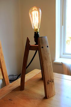 Scotch Whisky barrel stave edison table lamp by BeeSpokeBarrels