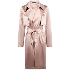 Boohoo Boutique Boutique Millie Silky Midi Trench ($52) ❤ liked on Polyvore featuring outerwear, coats, duster coat, rain trench coat, rain coat, mac trench coat and puffy coat
