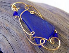 Dark Blue Genuine Sea Glass Delicate Wire Sculpted Pendant by wiregems on Etsy