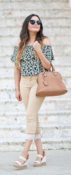 Affordable off the shoulder top paired with jeans and Tory Burch purse!