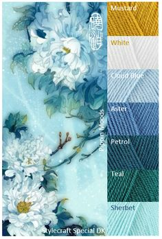 Love this colour board - except Mustard. Yarn Color Combinations, Color Schemes Colour Palettes, Colour Pallette, Color Palate, Color Harmony, Design Seeds, Yarn Colors, Colours, Color Swatches