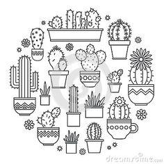 Lineair ontwerp, ingemaakte cactus elementen van een collectief embleem Vector  #仙人掌 #cacti #cactus #logo #design #graphic #icon #line