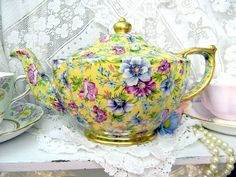 James Sadler Sophie Chintz Teapot Tea Pot c1950 Transferware 9079