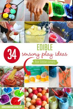 Just what I was looking for: easy ways to let my baby play that are literally harmless! baby food recipe instant pot 34 Edible Sensory Play Ideas for Kids - hands on : as we grow Edible Sensory Play, Baby Sensory Play, Sensory Bins, Sensory Activities, Baby Play, Infant Activities, Activities For Kids, Activity Ideas, Physical Activities