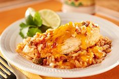 Mexican Chicken & Rice recipe - a family favorite. I never use name brand ingredients, and I always make more sauce than it calls for!