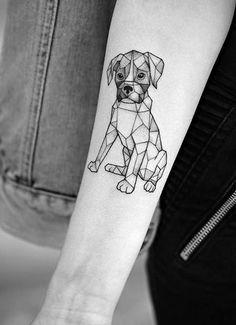 14 Unusual Dog Tattoos For Boxer Lovers Boxer Dog Tattoo, Puppy Tattoo, Line Tattoos, Sleeve Tattoos, Cool Tattoos, Tribal Tattoos, Geometric Tattoo Dog, Tattoo Gato, Tattoo Moon