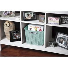 """Storage Tubs And Totes Plastic Room Essentials Blue $6.99 perfect size! :) Dimensions: 9.38 """" H x 12.25 """" W x 15.0 """" L"""