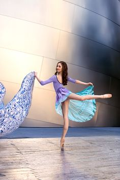 Juliet Doherty in a beautiful lavender Mariia leotard, with complimentary Watercolour tie dyed skirt at the Walt Disney Concert Hall in Los Angeles, CA!