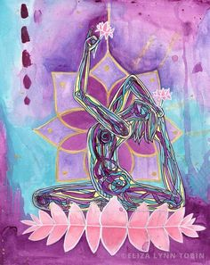 Lakshmi-Yoga Art Painting-by Eliza Lynn Tobin You are Radiant. You are surrounded by light and you emanate light. You embody the blessing of love and beauty and it is with you wherever you go. Place this original painting in your yoga space to invoke t Zen Yoga, Yoga Art, Yoga Meditation, Yoga Inspiration, Painting Inspiration, Yoga Kunst, Yoga Painting, Mudras, Yoga Photography