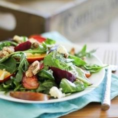 Roasted beet salad with fresh summer fruit and a homemade vinaigrette!