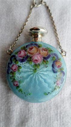 Antique Silver Double Guilloche Enamel Chatelaine Scent/Perfume Bottle C1900