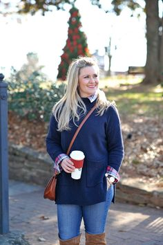 The perfect layered sweater outfit for winter plaid shirt, over the knee boots and jeans.