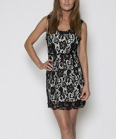 This Black & Cream Lace Sleeveless Dress by Rieley is perfect! #zulilyfinds