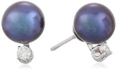 14k White Gold Black Freshwater Cultured Pearl and Diamond Studs 775mm 010 cttw HI Color I1I2 Clarity >>> Details can be found by clicking on the image.