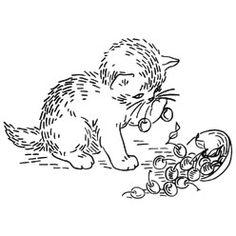 Pattern Detail   Kitten with Bowl of Cherries   Needlecrafter