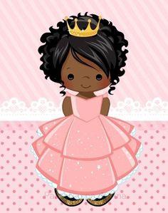 Muñequita flamenco Little Prince Party, Cute Clipart, Afro Art, Black Women Art, Book Projects, Princesas Disney, Watercolor Print, Book Illustration, Little People