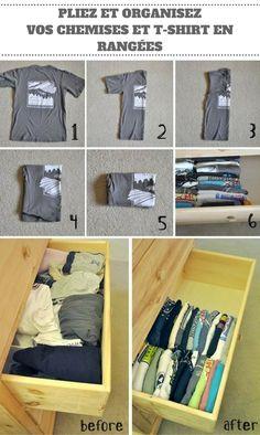 Pliez et organisez vos chemises et t-shirts en rangées, c'est beaucoup plus facile pour les trouver. Brillant ! Cela prend également beaucoup moins d'espace dans le tiroir. Vous devez juste bien plier vos chemises et t-shirts avec l'impression vers le haut. De cette façon, vous pourrez facilement les identifier une fois qu'ils seront organisés dans le tiroir.
