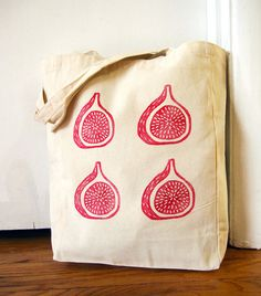 Canvas Tote Bags, Market Tote, Grocery Bag, Fig, Block Print, Hand Printed, Pink, Magenta, Fruit, Cooking, Shopping Bag, Eco Bag