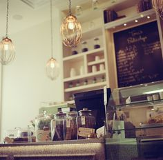 this may be a bakery, but I love the lights and look for the kitchen