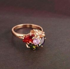 Ring 18K rose gold ring PlateMulitcolor high quality zise 9 Jewelry Rings