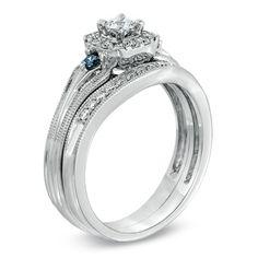 1/2 CT. T.W. Enhanced Blue and White Diamond Vintage-Style Frame Bridal Set in 10K White Gold - Zales