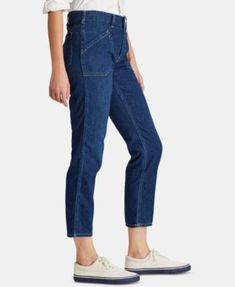 Polo Ralph Lauren Workwear Denim Cotton Skinny Jeans - Navy 24 Ralph Lauren Womens Clothing, Denim Cotton, Denim Skinny Jeans, Workwear, Polo Ralph Lauren, Navy, Clothes For Women, Spring, Pants