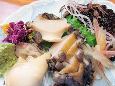 'awabi' Abalone, sashimi Japanese food.