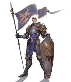 m Fighter Plate Armor Shield Bannerman +2 Constitution in Battles ArtStation - shield flag knight man, Gwang-beom Kho