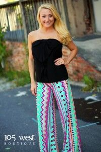 ONE SMALL LEFT IN THESE PALAZZO PANTS!!  Get them before they're gone!!  ~ 105 West Boutique located in Abbeville, SC.  (864) 366-WEST.  Shipping $5.  Look for us on Facebook and Instagram!