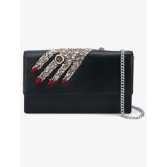 ALEXANDER MCQUEEN Jewelled Hand Insignia Chain Leather Clutch ($1,180) ❤ liked on Polyvore featuring bags, handbags, clutches, white clutches, chain strap purse, white purse, leather hand bags and leather clutches