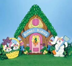 The Easter Bunny Bakery, 3 Piece Set, Outdoor Wood Yard Art, Easter Lawn…