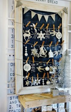 Chalkboard Advent Calendar! Going on the mantle. So cute and so much easier than the big chalk art picture I originally planned!