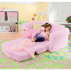 Pink Chenille Kids' Sofa   Company Kids  One for each girls's room for sleepovers? $179- find cheaper!