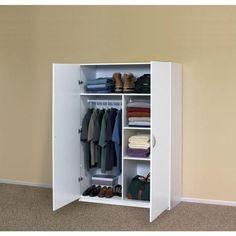 White Wardrobe Closet, Portable Wardrobe Closet, Closet Ikea, Small Wardrobe, Closet Storage, Closet Organization, Bedroom Storage, Closet Drawers, Workshop Organization
