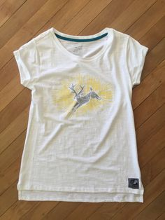 Ladies Deer T Shirt White by SonjaHandcraftedTees on Etsy How To Roll Sleeves, Cotton Tee, Deer, How To Draw Hands, Lady, Prints, Mens Tops, T Shirt, Style