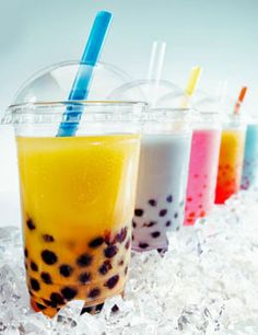 Bubble Tea or boba tea. The small round balls in the tea is tapioca. I am so Obsessed with this tasty treat! A boba a day!