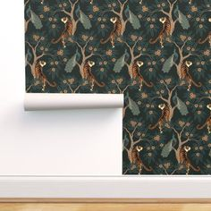 tiger and peacock (large scale) - Spoonflower Perfect Wallpaper, Wallpaper Roll, Peel And Stick Wallpaper, Wallpaper Ideas, Peacock Wallpaper, Chinoiserie Wallpaper, Small Bathroom Wallpaper, Baby Blue Nursery, Geometric Bear