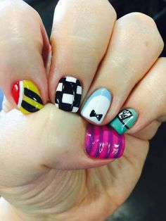 Visit www. for EZdip Gel Powder. EZ Dip is so easy to DIY! No lamps needed lasts weeks! Birthday Nail Designs, Birthday Nails, Birthday Design, Cute Nails, Pretty Nails, Hair And Nails, My Nails, Alice In Wonderland Nails, Nail Time