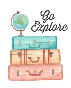 Go Explore Travel watercolor art print by sarahfrancesart on Etsy