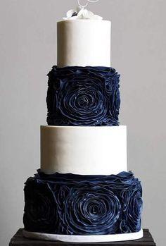 Navy Ruffles Black Wedding Cakes, Beautiful Wedding Cakes, Gorgeous Cakes, Dream Wedding, Wedding Things, Amazing Cakes, Perfect Wedding, Navy And Burgundy Wedding, Burgundy And Gold