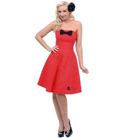 Red & Black Polka Dot Strapless Swing Dress - Unique Vintage - Prom dresses, retro dresses, retro swimsuits.
