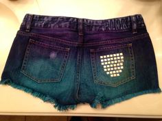 DIY ty-dye studded shorts.   Super easy to make.  Fabric dye: Blue, and purple  Squirt bottle  Glue  studs