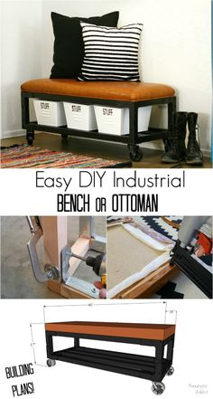 Easy DIY Industrial Bench or Ottoman – Diy Furniture Ideas Diy Furniture Plans, Small Furniture, Colorful Furniture, Repurposed Furniture, Luxury Furniture, Home Furniture, Furniture Removal, Furniture Stores, Cheap Furniture