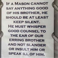 The responsibility of every good Mason