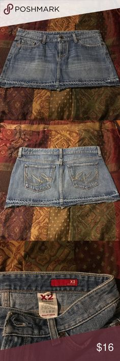 """NWOT!  Express X2 Quality Denim Mini NWOT!  Express X2 Quality Denim Mini Skirt!  Never worn and in excellent condition.  Hip Hugger!  Sz 8 Approximate measurements laying flat:  hips 17""""; length 12"""" All my items are from a smoke free home and offers are always welcome!  🛍💗🛍 Express Skirts Mini"""