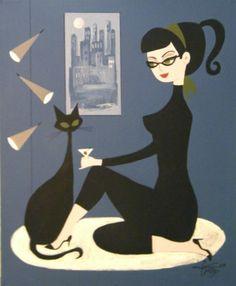 EL GATO GOMEZ PAINTING MID CENTURY MODERN RETRO PIN-UP GIRL CAT MARTINI 1950S