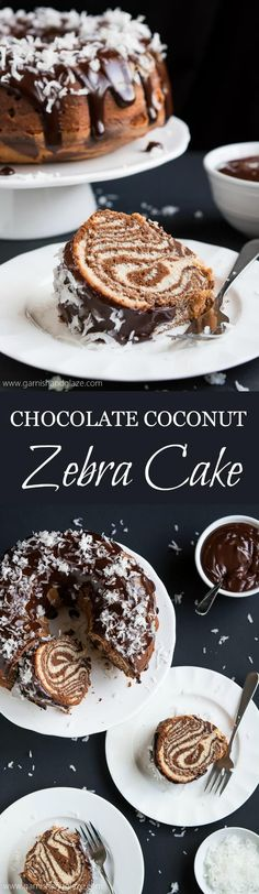 Your dinner guests will be in awe of this gorgeous, yet easy to make, Surprise-Inside Chocolate Coconut Zebra Cake topped with ganache and sweet coconut flakes.
