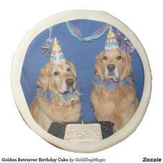 Golden Retriever Birthday Cake Sugar Cookie